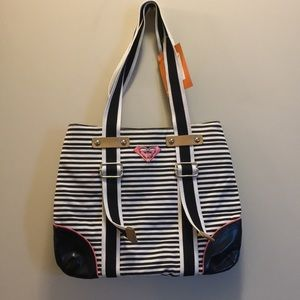 Roxy black and white striped bag